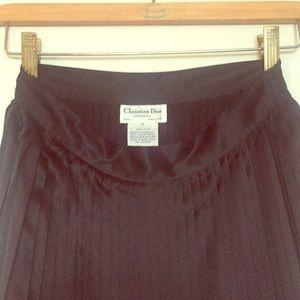Vintage Christian Dior Silk Pleated Midi Skirt 2